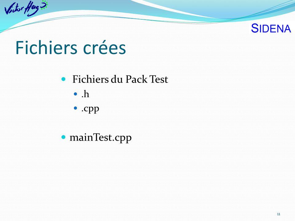 Fichiers crées Fichiers du Pack Test .h .cpp mainTest.cpp
