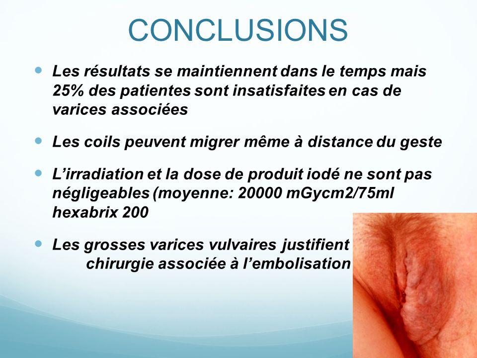 CONCLUSIONS Les résultats se maintiennent dans le temps mais 25% des patientes sont insatisfaites en cas de varices associées.