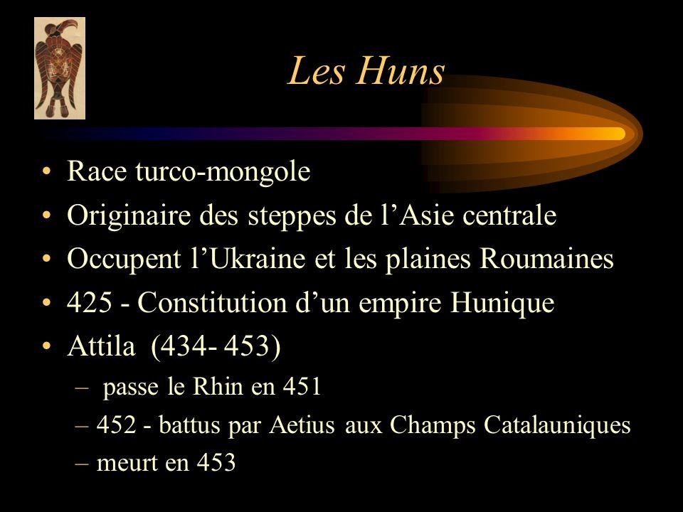 Les Huns Race turco-mongole Originaire des steppes de l'Asie centrale