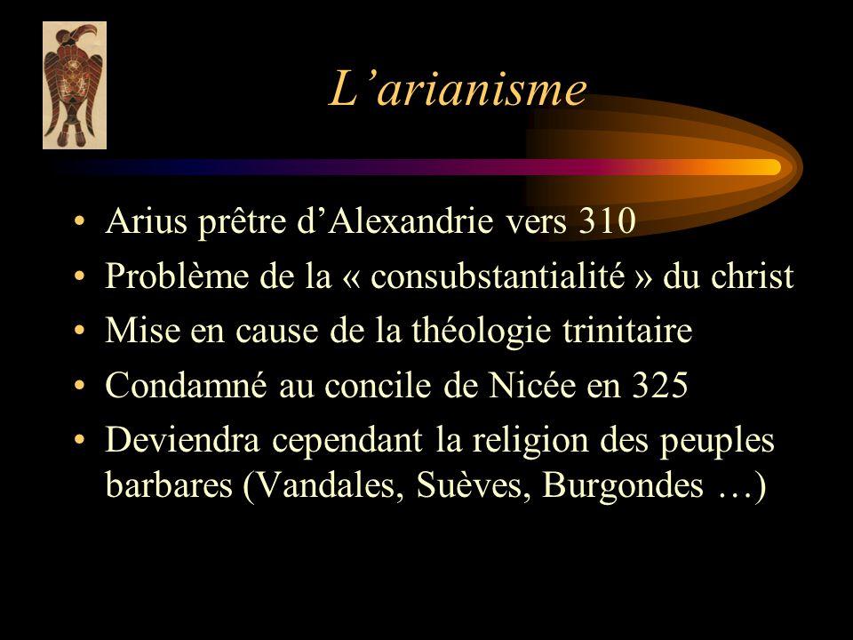 L'arianisme Arius prêtre d'Alexandrie vers 310