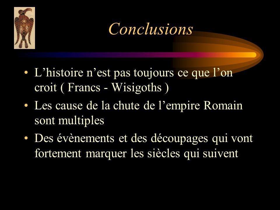 Conclusions L'histoire n'est pas toujours ce que l'on croit ( Francs - Wisigoths ) Les cause de la chute de l'empire Romain sont multiples.