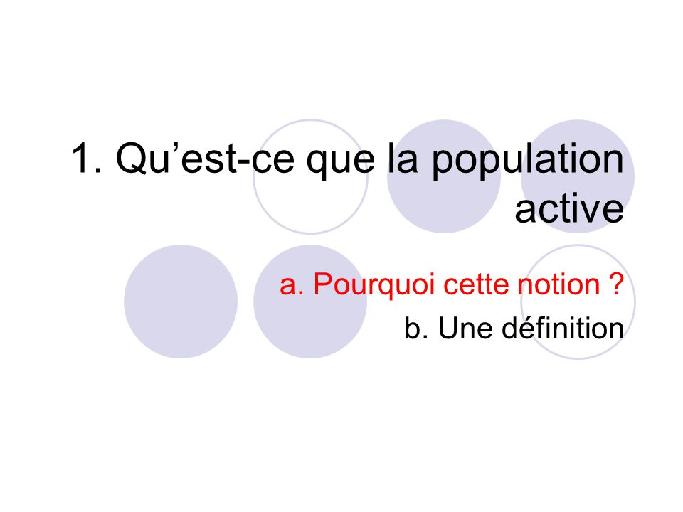 1. Qu'est-ce que la population active