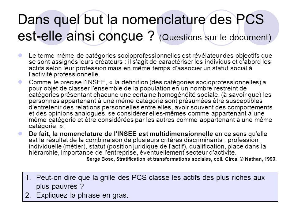 Dans quel but la nomenclature des PCS est-elle ainsi conçue