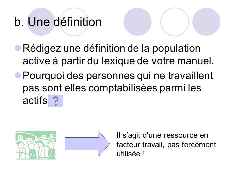 b. Une définition Rédigez une définition de la population active à partir du lexique de votre manuel.