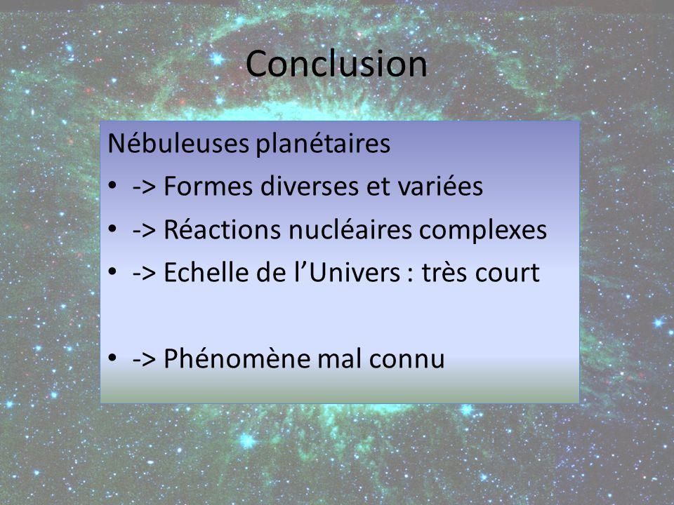 Conclusion Nébuleuses planétaires -> Formes diverses et variées