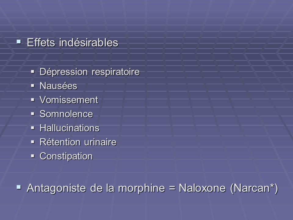 Antagoniste de la morphine = Naloxone (Narcan*)