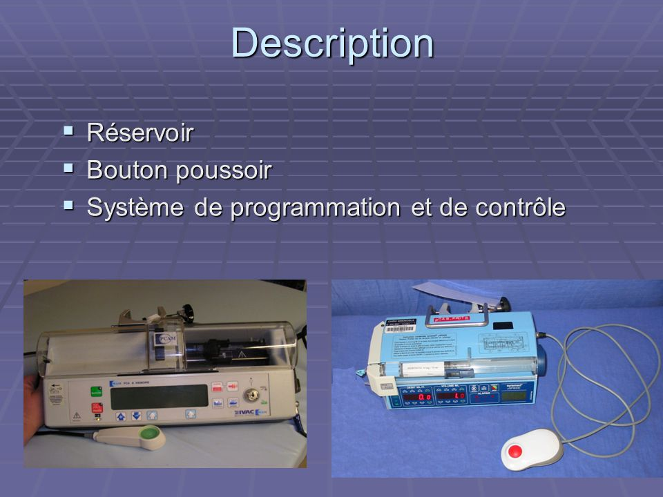 Description Réservoir Bouton poussoir