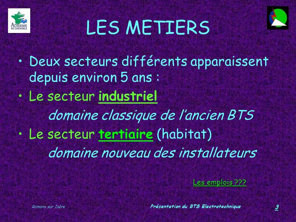 Romans sur Isère Présentation du BTS Electrotechnique