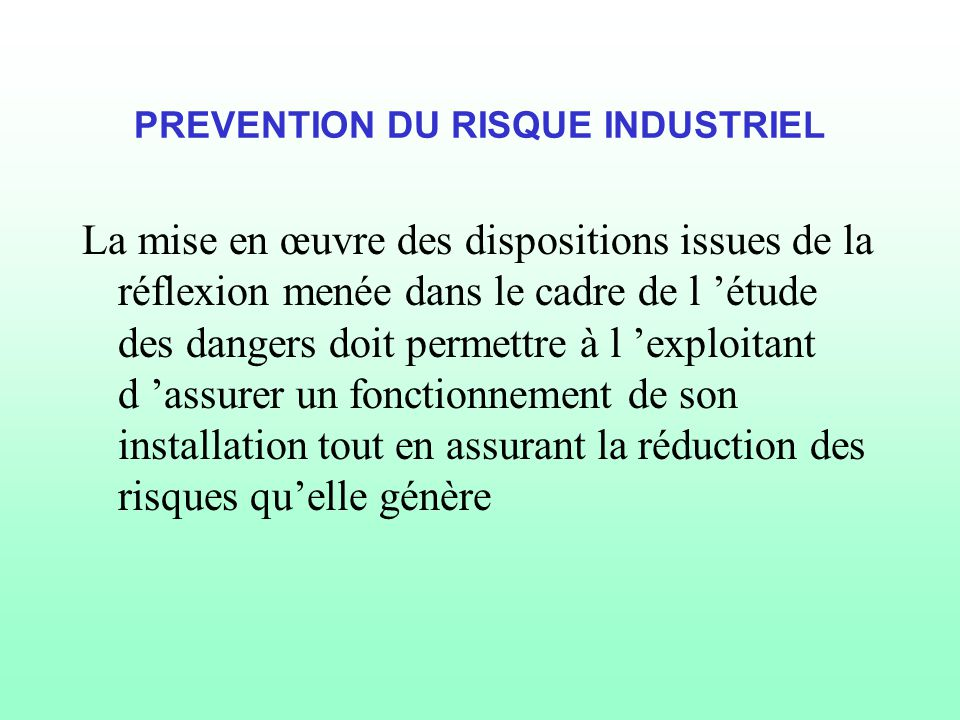 PREVENTION DU RISQUE INDUSTRIEL