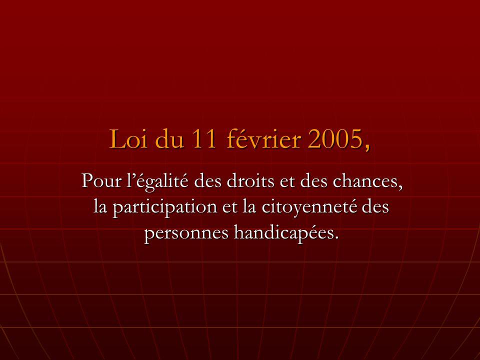 Loi du 11 février 2005, Pour l'égalité des droits et des chances, la participation et la citoyenneté des personnes handicapées.
