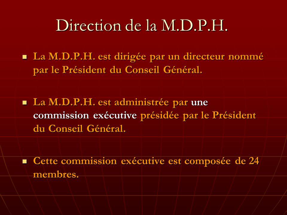 Direction de la M.D.P.H. La M.D.P.H. est dirigée par un directeur nommé par le Président du Conseil Général.