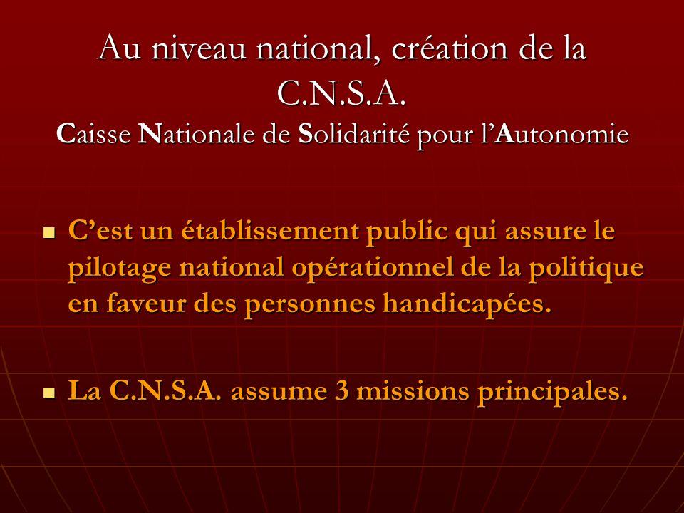 Au niveau national, création de la C. N. S. A
