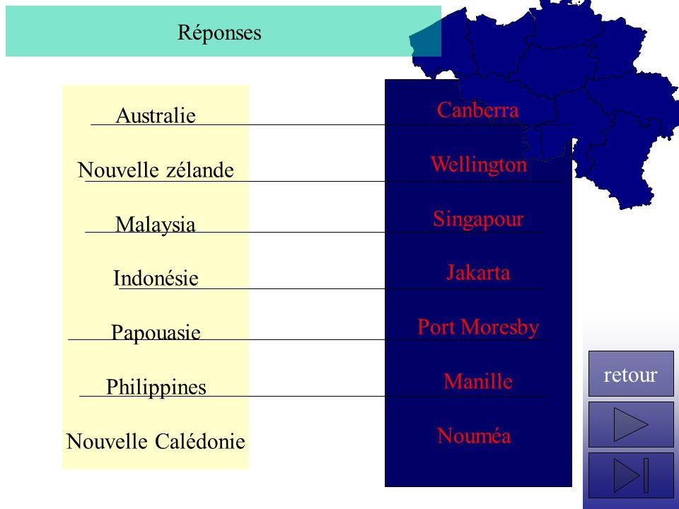Réponses Canberra. Wellington. Singapour. Jakarta. Port Moresby. Manille. Nouméa. Australie.