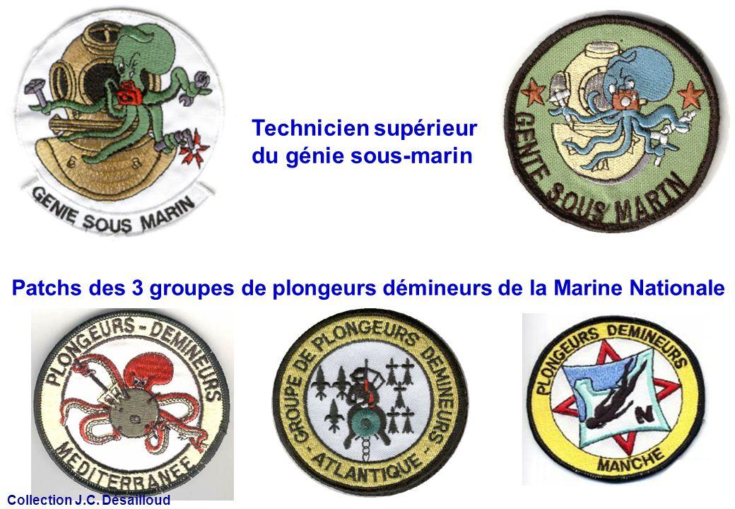 Patchs des 3 groupes de plongeurs démineurs de la Marine Nationale