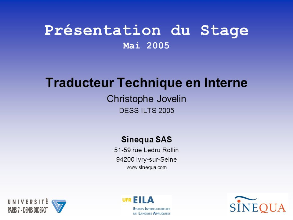 Traducteur Technique en Interne Christophe Jovelin DESS ILTS 2005