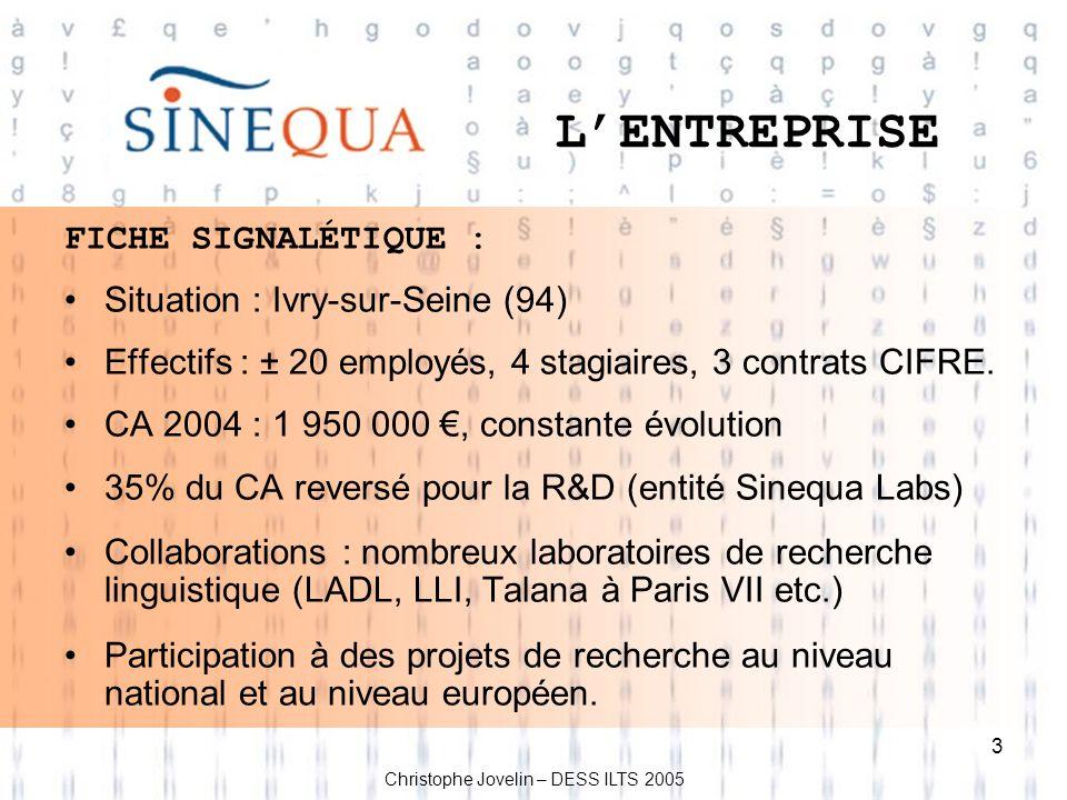 L'ENTREPRISE FICHE SIGNALÉTIQUE : Situation : Ivry-sur-Seine (94)