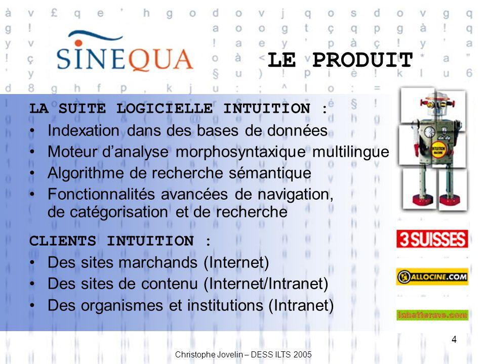 LE PRODUIT LA SUITE LOGICIELLE INTUITION :