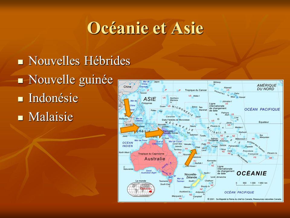 Océanie et Asie Nouvelles Hébrides Nouvelle guinée Indonésie Malaisie