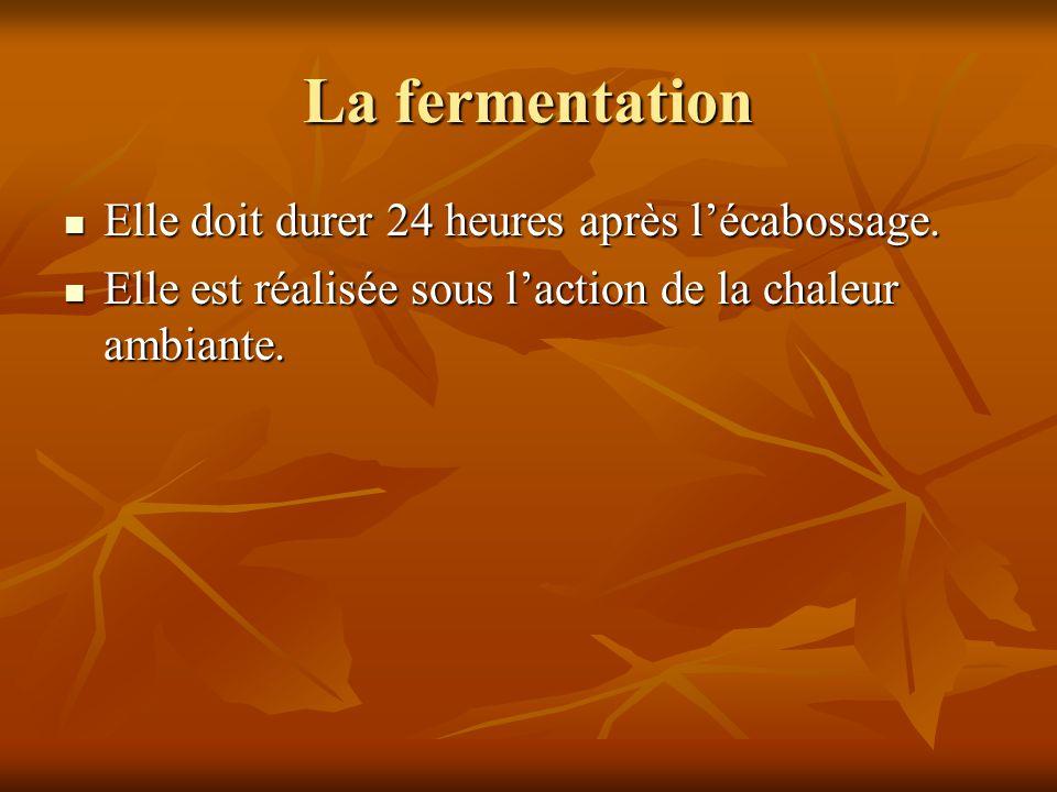 La fermentation Elle doit durer 24 heures après l'écabossage.