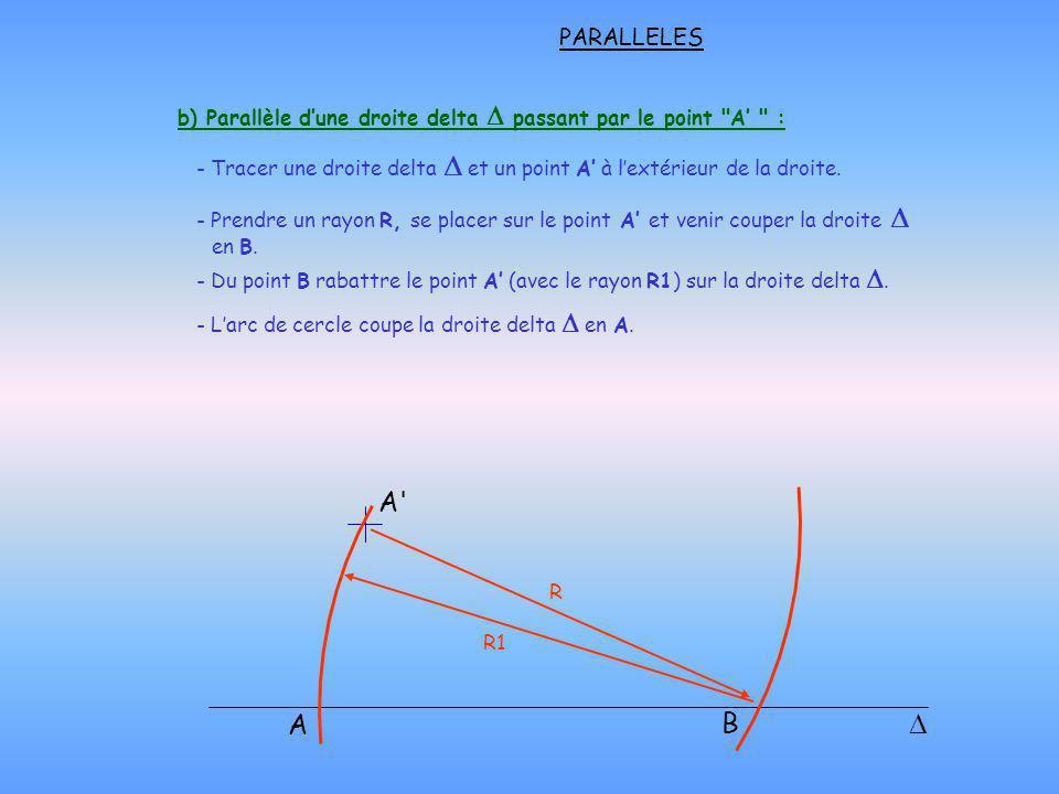 b) Parallèle d'une droite delta D passant par le point A' :