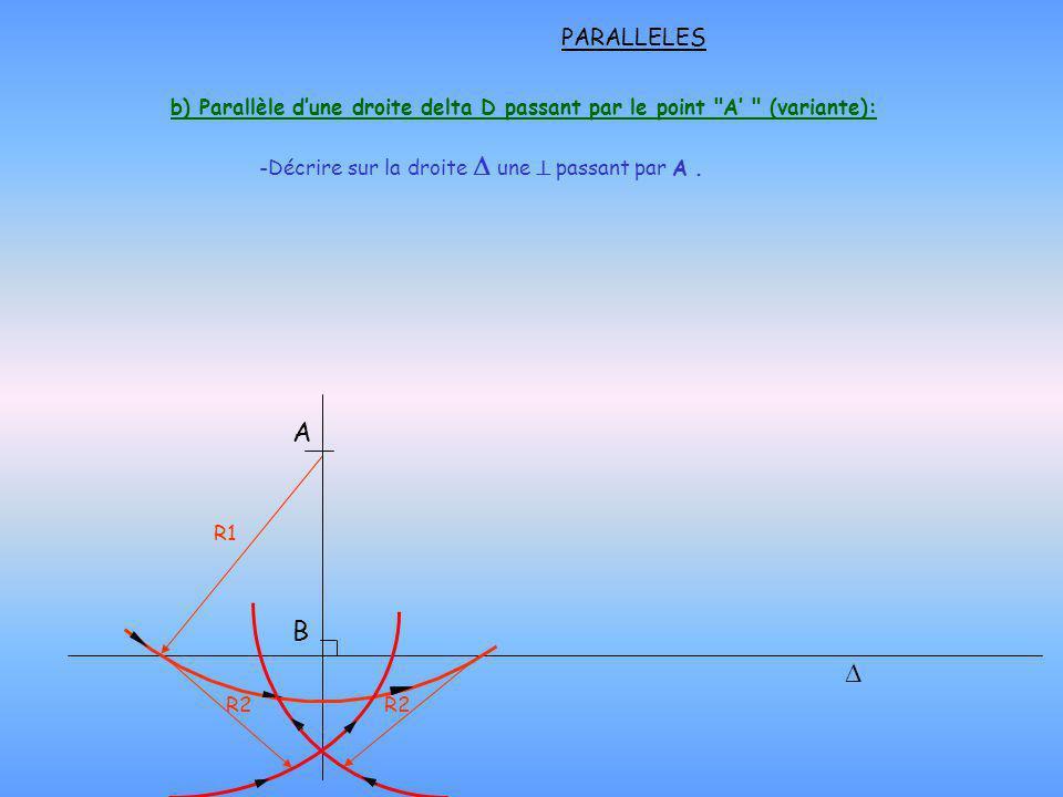 PARALLELES b) Parallèle d'une droite delta D passant par le point A' (variante): Décrire sur la droite D une  passant par A .