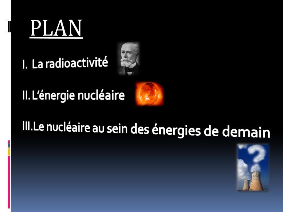 PLAN La radioactivité L'énergie nucléaire