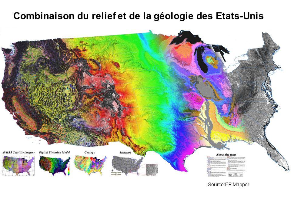 Combinaison du relief et de la géologie des Etats-Unis
