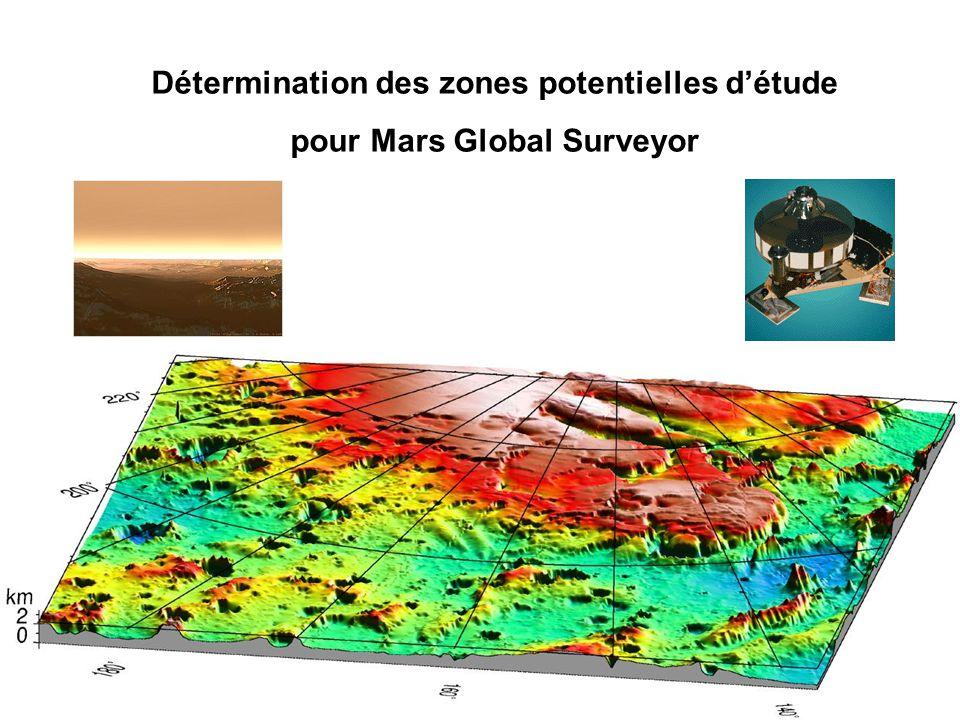 Détermination des zones potentielles d'étude pour Mars Global Surveyor