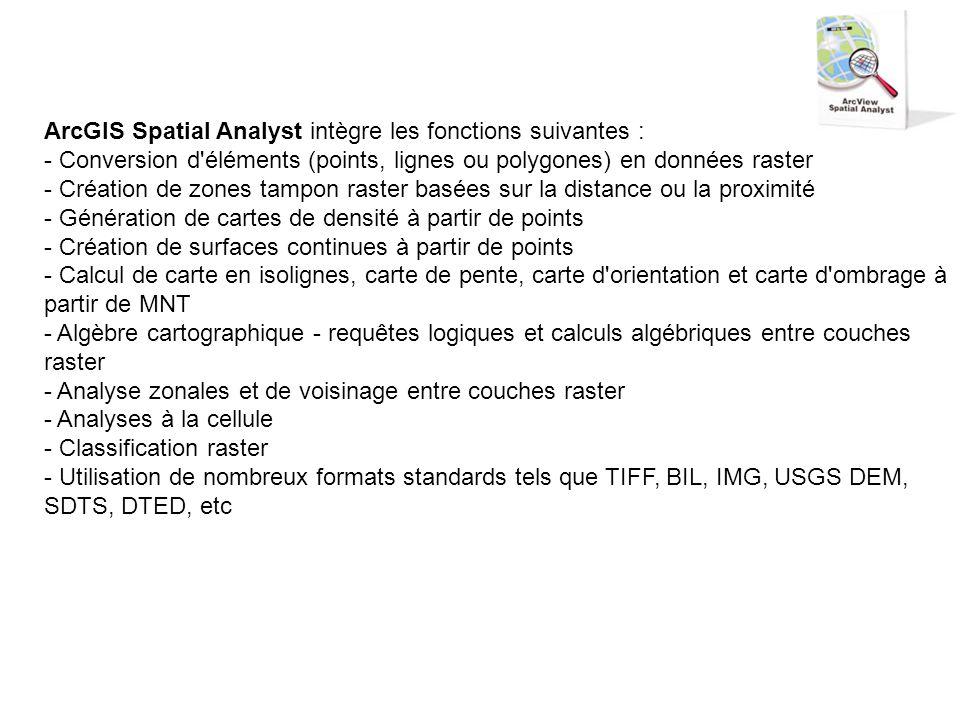 ArcGIS Spatial Analyst intègre les fonctions suivantes : - Conversion d éléments (points, lignes ou polygones) en données raster - Création de zones tampon raster basées sur la distance ou la proximité - Génération de cartes de densité à partir de points - Création de surfaces continues à partir de points - Calcul de carte en isolignes, carte de pente, carte d orientation et carte d ombrage à partir de MNT - Algèbre cartographique - requêtes logiques et calculs algébriques entre couches raster - Analyse zonales et de voisinage entre couches raster - Analyses à la cellule - Classification raster - Utilisation de nombreux formats standards tels que TIFF, BIL, IMG, USGS DEM, SDTS, DTED, etc