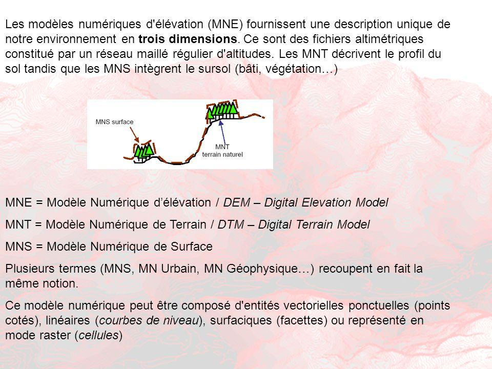 Les modèles numériques d élévation (MNE) fournissent une description unique de notre environnement en trois dimensions. Ce sont des fichiers altimétriques constitué par un réseau maillé régulier d altitudes. Les MNT décrivent le profil du sol tandis que les MNS intègrent le sursol (bâti, végétation…)