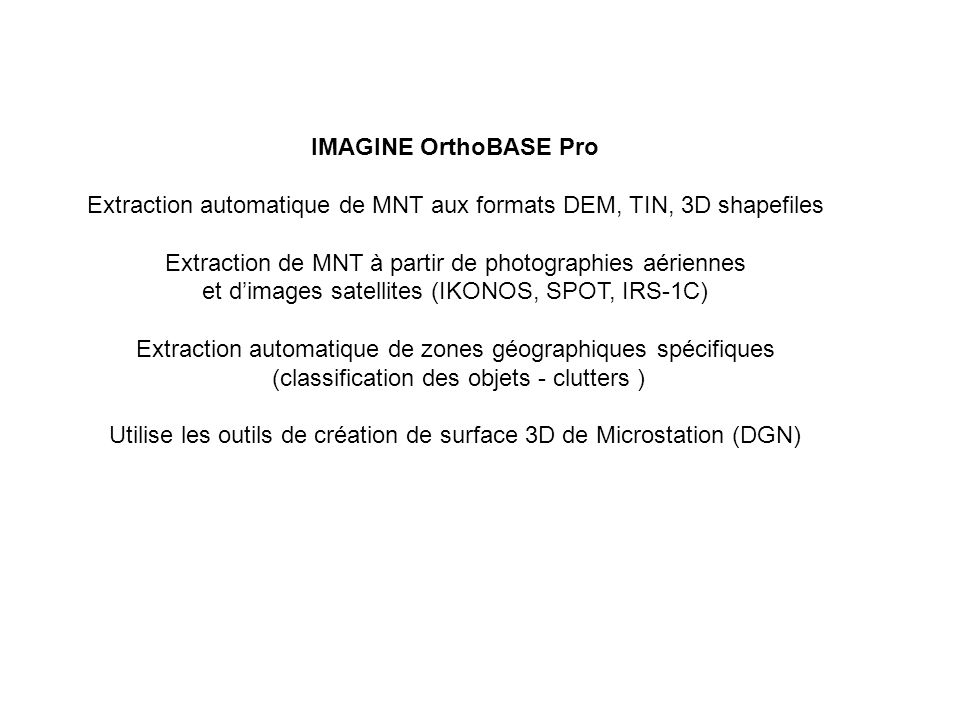 Extraction automatique de MNT aux formats DEM, TIN, 3D shapefiles
