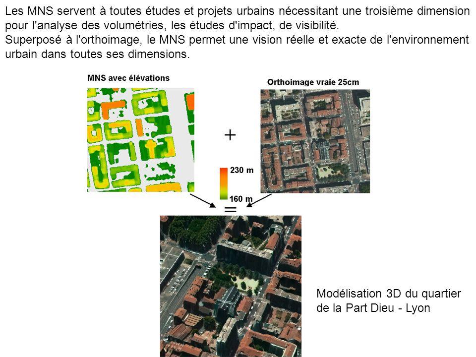 Les MNS servent à toutes études et projets urbains nécessitant une troisième dimension pour l analyse des volumétries, les études d impact, de visibilité.