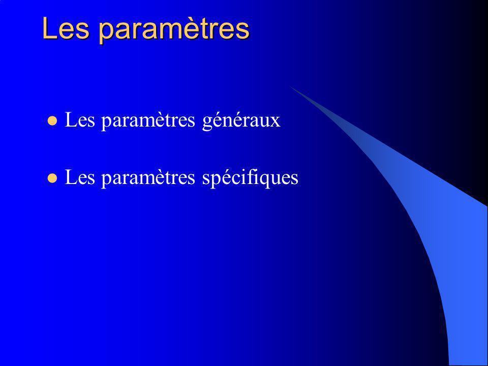 Les paramètres Les paramètres généraux Les paramètres spécifiques