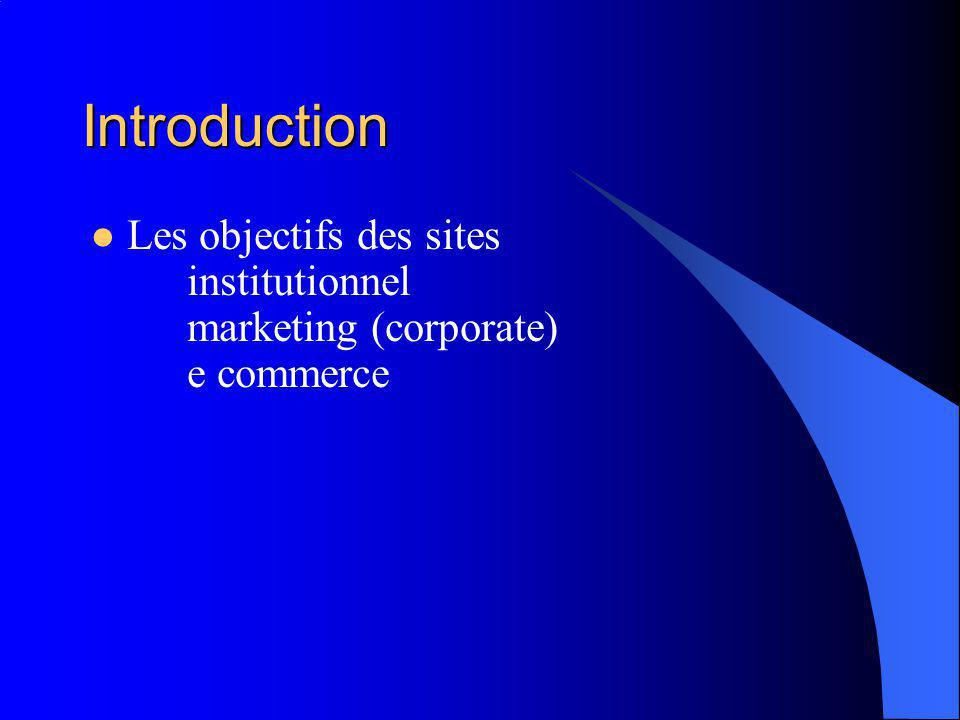Introduction Les objectifs des sites institutionnel marketing (corporate) e commerce