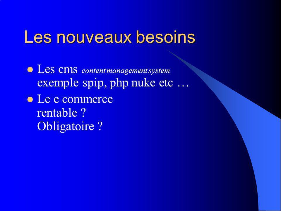 Les nouveaux besoins Les cms content management system exemple spip, php nuke etc … Le e commerce rentable .