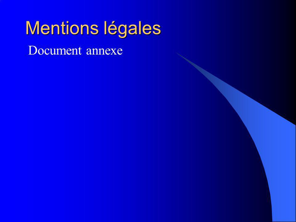 Mentions légales Document annexe