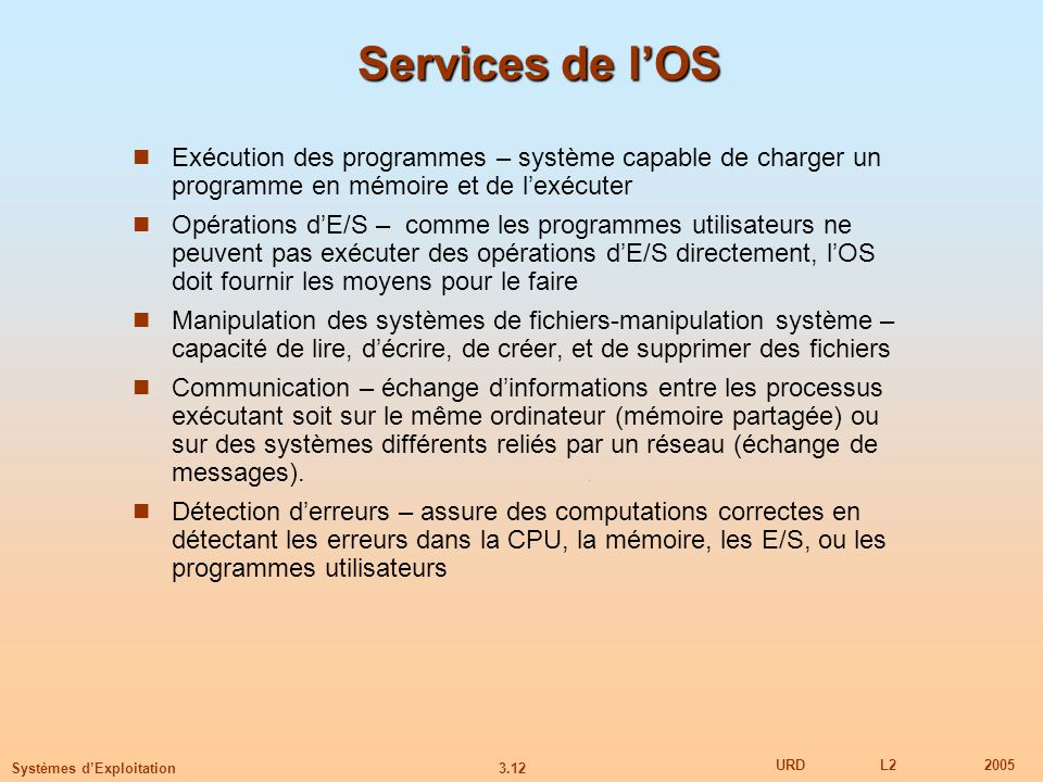 Services de l'OS Exécution des programmes – système capable de charger un programme en mémoire et de l'exécuter.