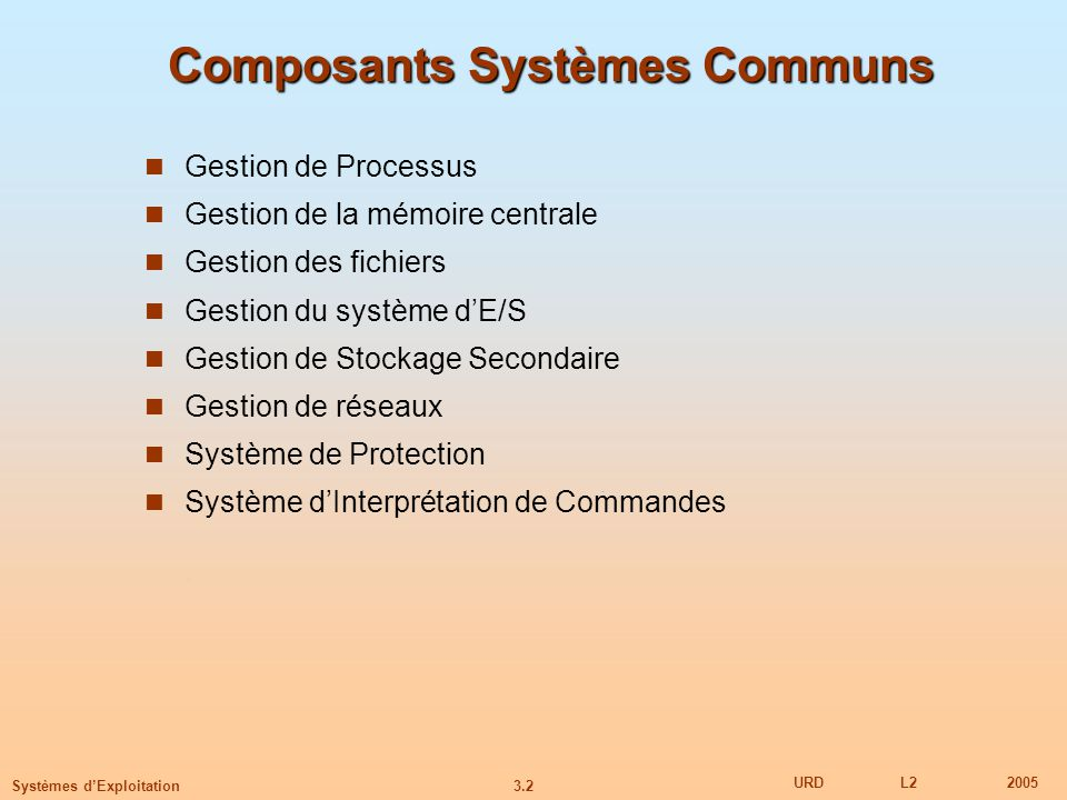 Composants Systèmes Communs