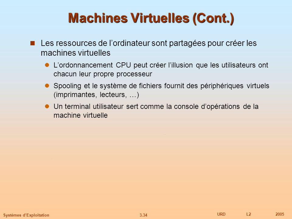 Machines Virtuelles (Cont.)