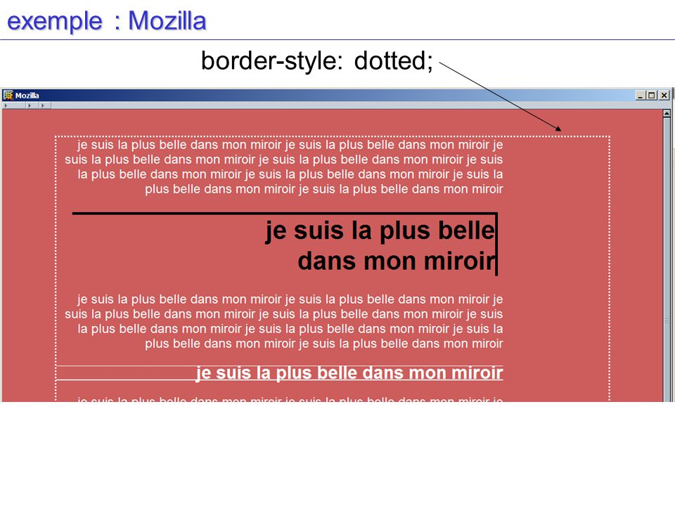 exemple : Mozilla border-style: dotted;
