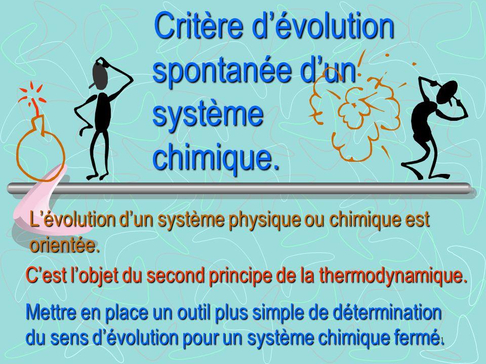 Critère d'évolution spontanée d'un système chimique.