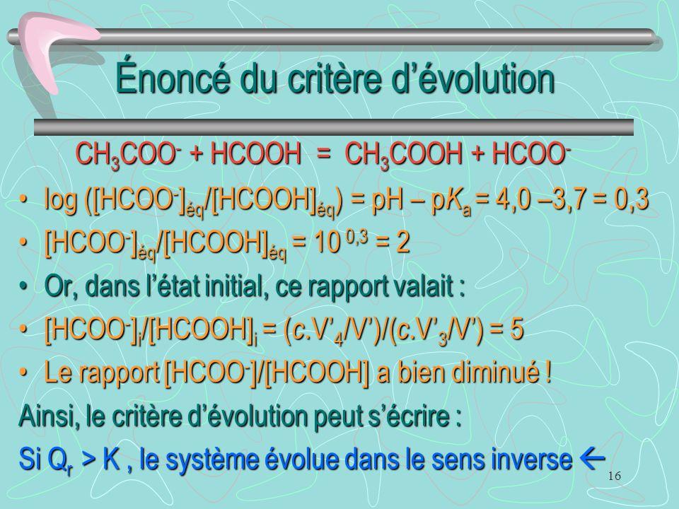 Énoncé du critère d'évolution