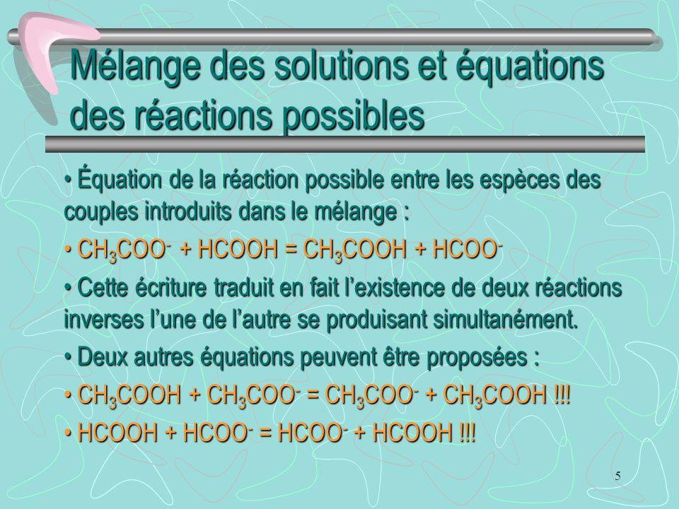 Mélange des solutions et équations des réactions possibles