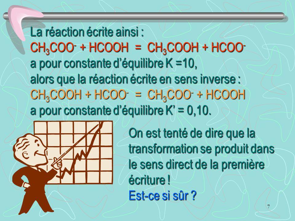 La réaction écrite ainsi : CH3COO- + HCOOH = CH3COOH + HCOO- a pour constante d'équilibre K =10,