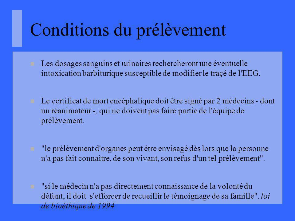 Conditions du prélèvement