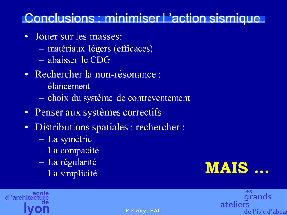Conclusions : minimiser l 'action sismique