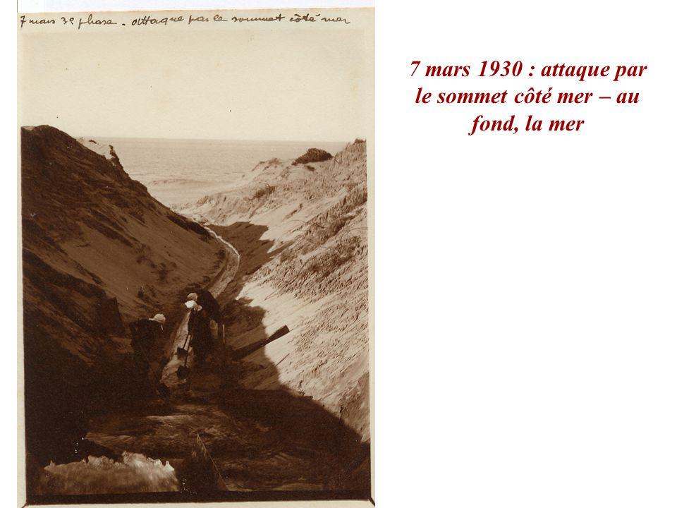 7 mars 1930 : attaque par le sommet côté mer – au fond, la mer