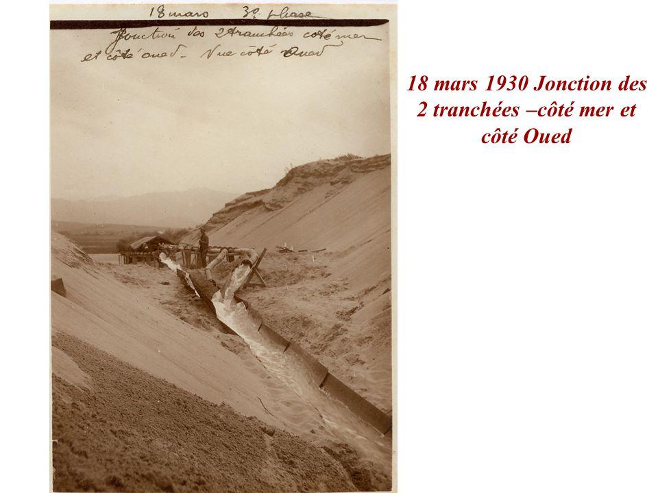 18 mars 1930 Jonction des 2 tranchées –côté mer et côté Oued