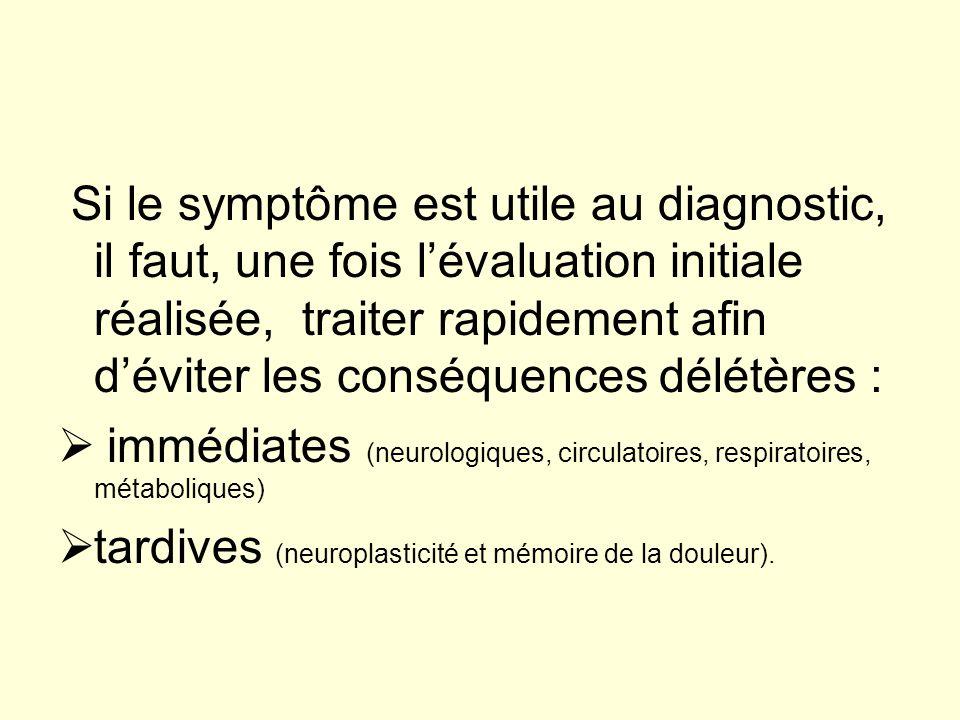 Si le symptôme est utile au diagnostic, il faut, une fois l'évaluation initiale réalisée, traiter rapidement afin d'éviter les conséquences délétères :