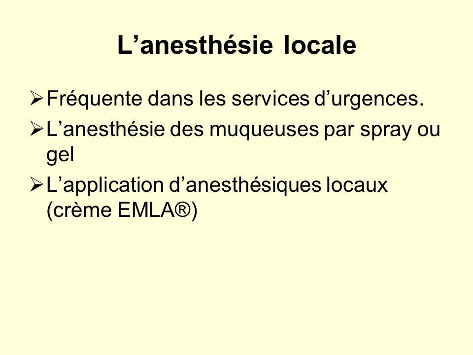 L'anesthésie locale Fréquente dans les services d'urgences.